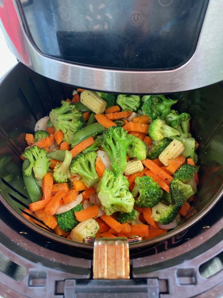Frozen mixed vegetables in an air fryer