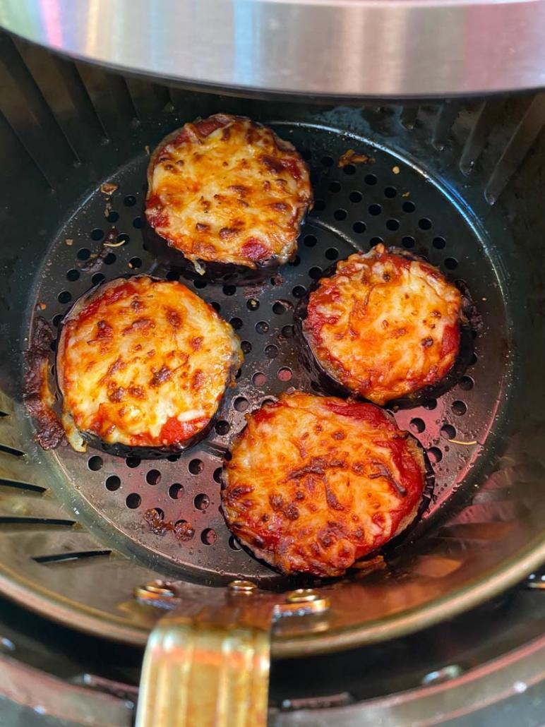 Air Fryer Eggplant Pizzas