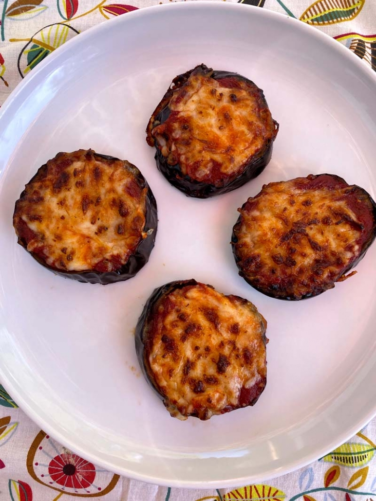air fried eggplant pizzas