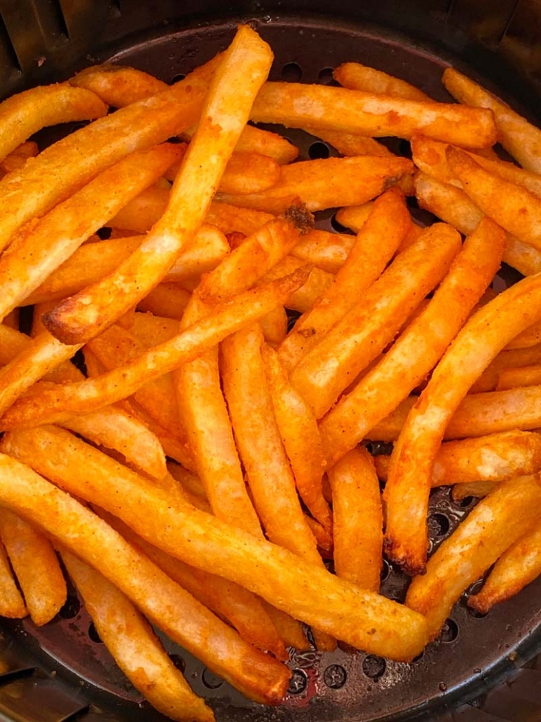 cooking frozen french fries in an air fryer