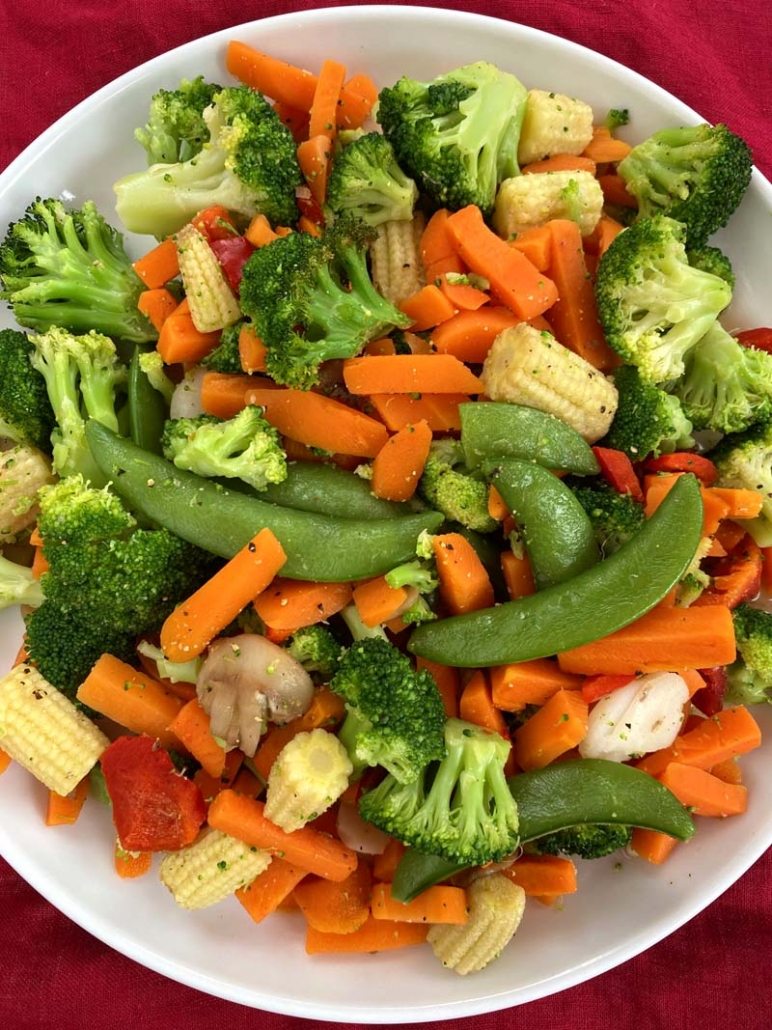 A dish full of mixed vegetables - frozen mixed vegetables in the air fryer
