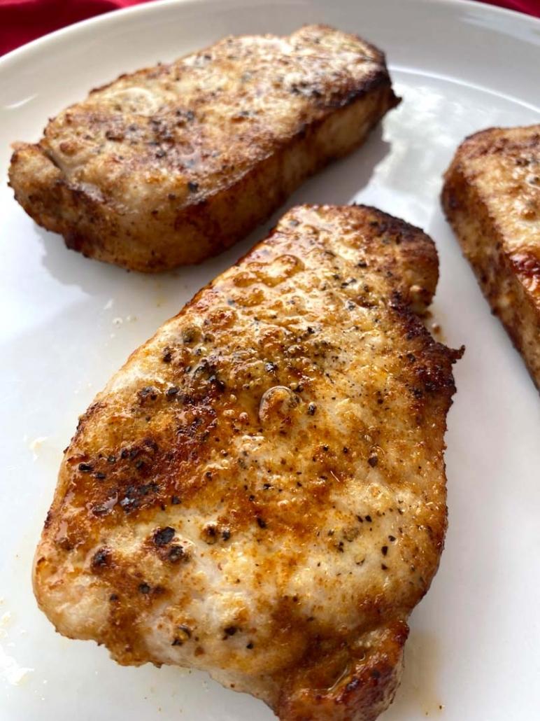 3 juicy boneless pork chops made in the air fryer
