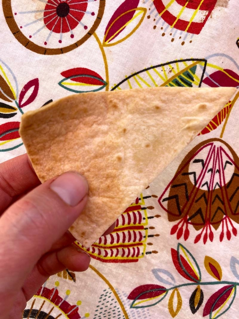 a tortilla chip made in the air fryer