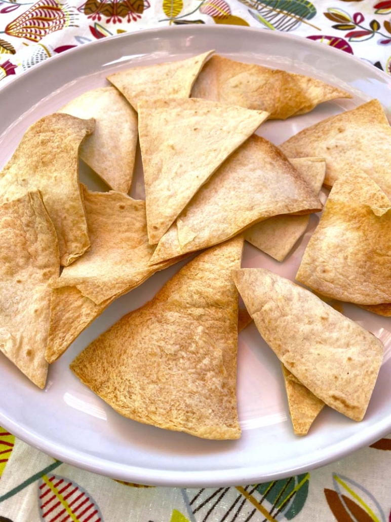 A plate of air fryer tortilla chips