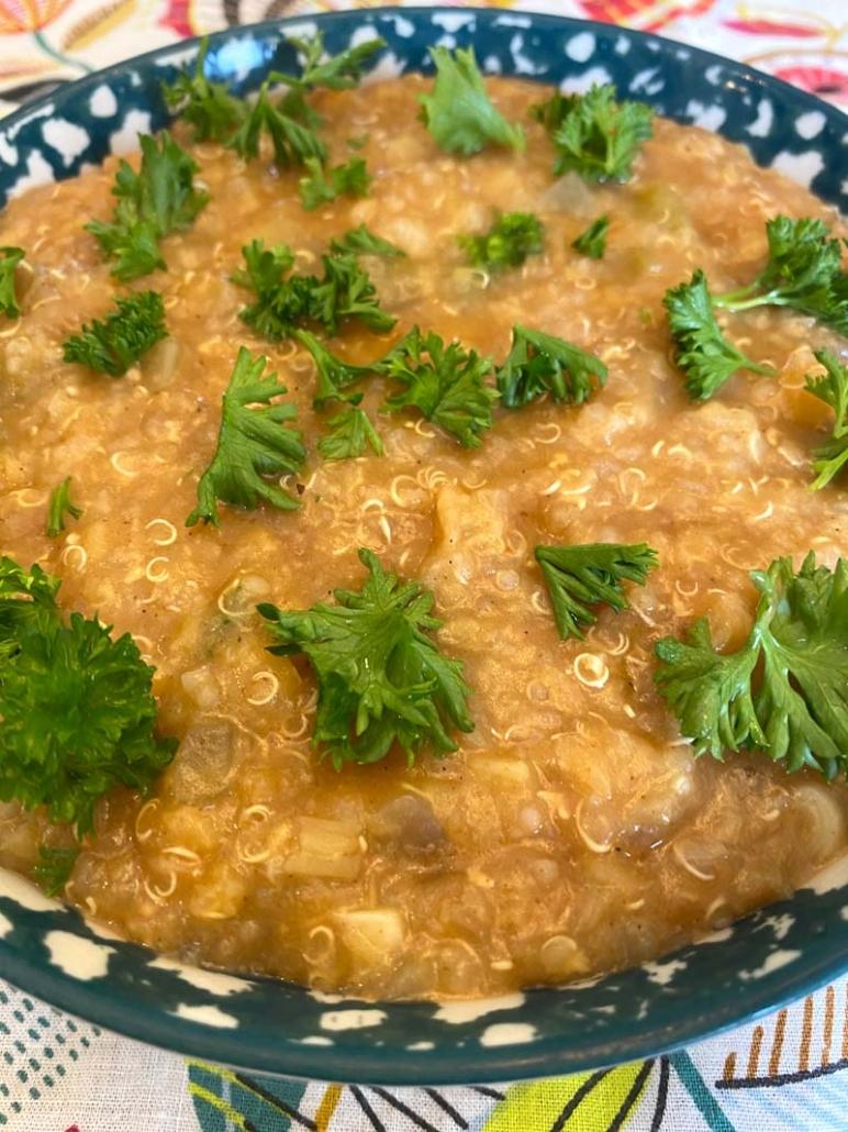 a bowl of Instant Pot Lentil Quinoa Soup