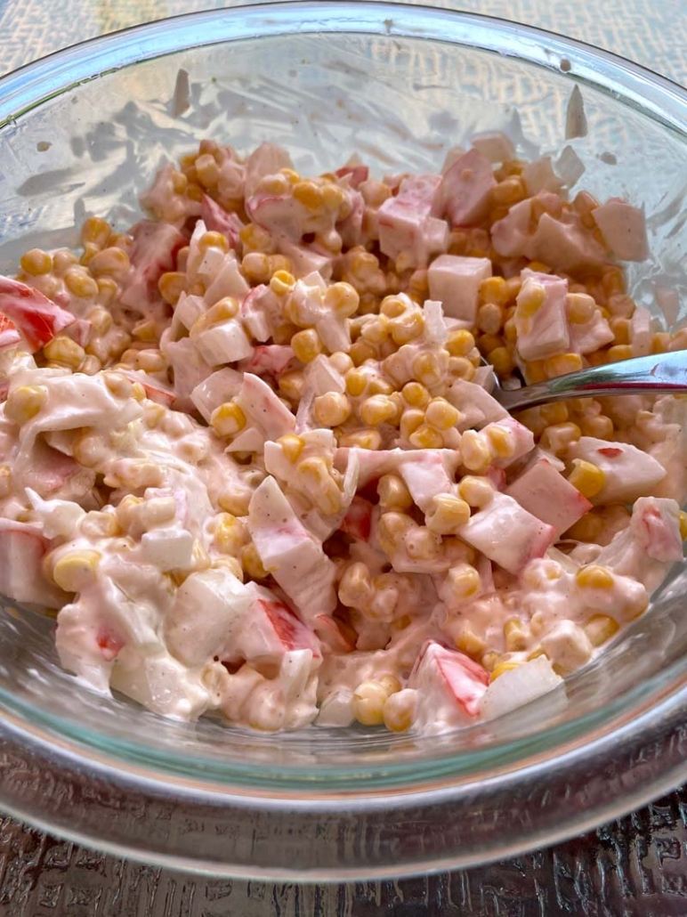 crab salad with canned corn