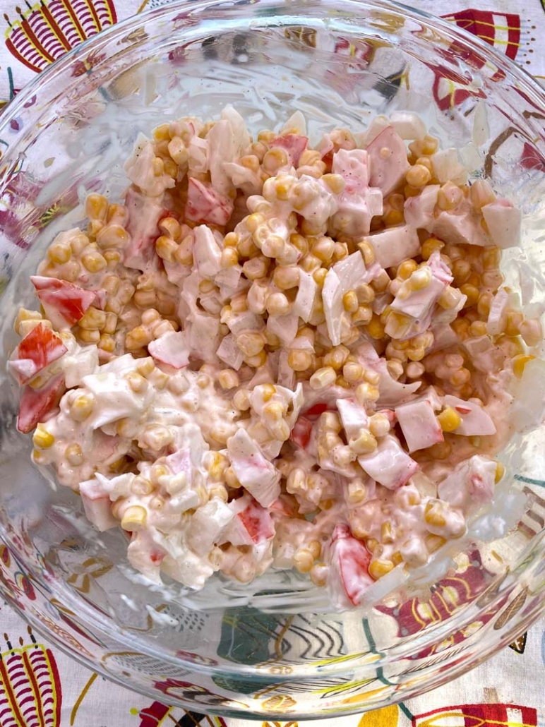 corn salad with imitation crab and mayo