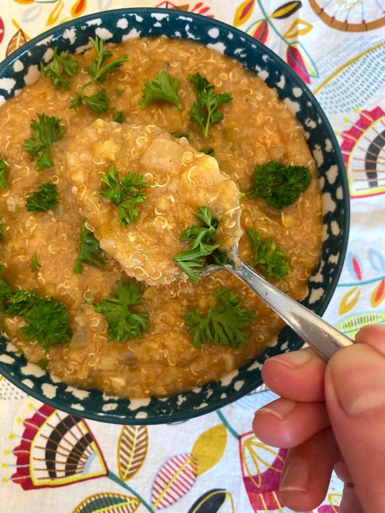 An overhead view of Instant Pot Lentil Quinoa Soup