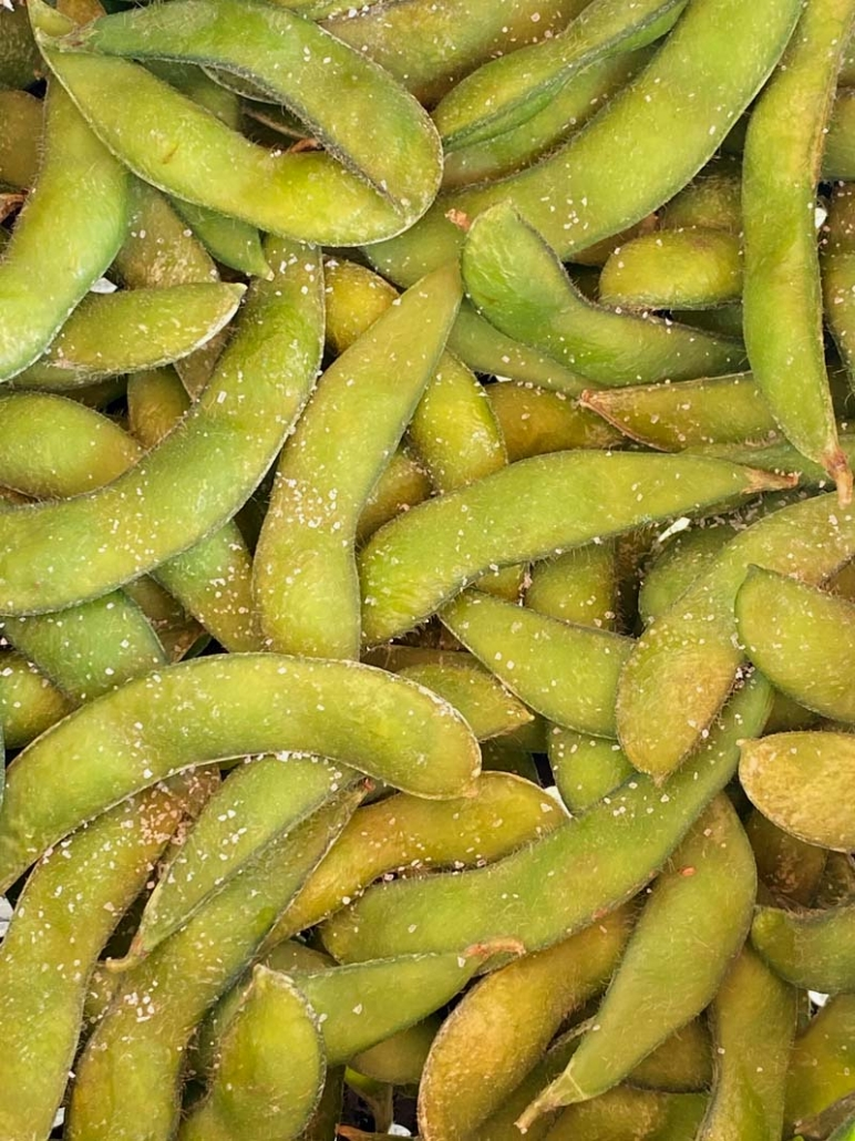 cooked edamame seasoned with salt