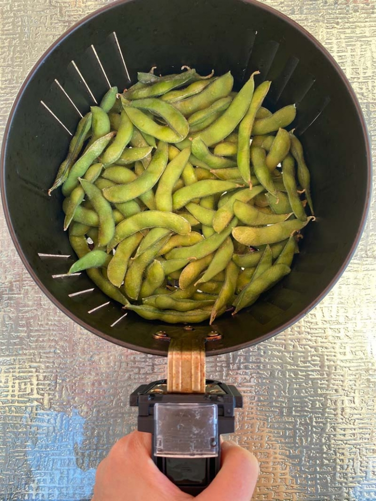 cooking frozen edamame in the air fryer