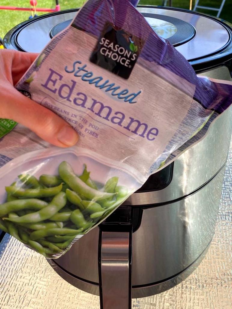 a bag of frozen edamame