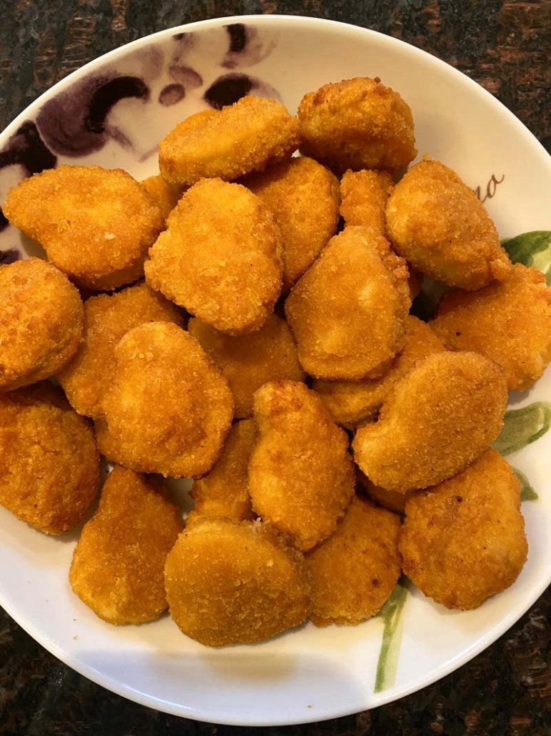 air fried chicken nuggets on a plate