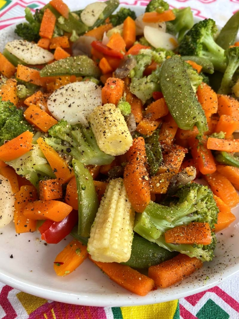 cooked vegetables seasoned with salt and pepper