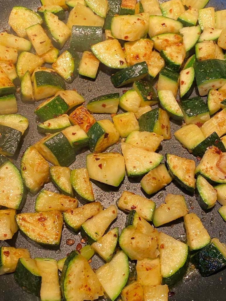 cooking pan fried zucchini