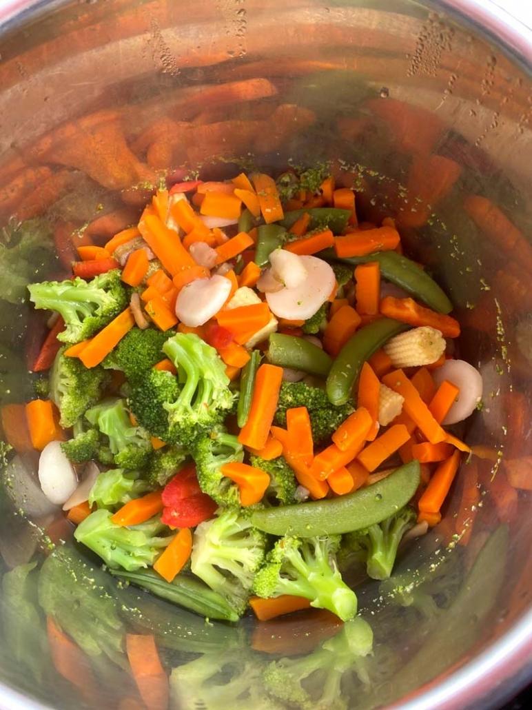 frozen vegetables in the Instant Pot