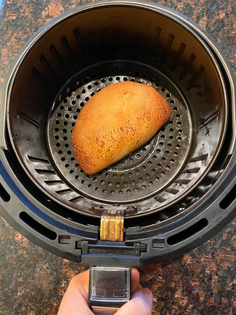 cooking a calzone in the air fryer
