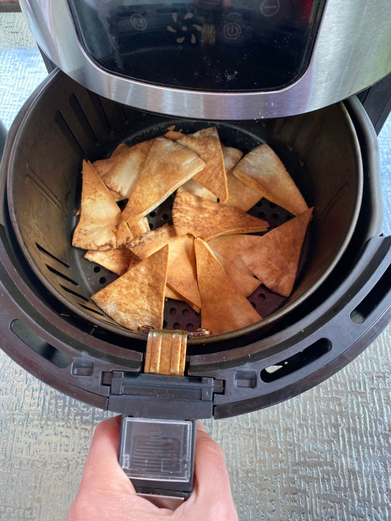 cooking homemade pita chips in an air fryer