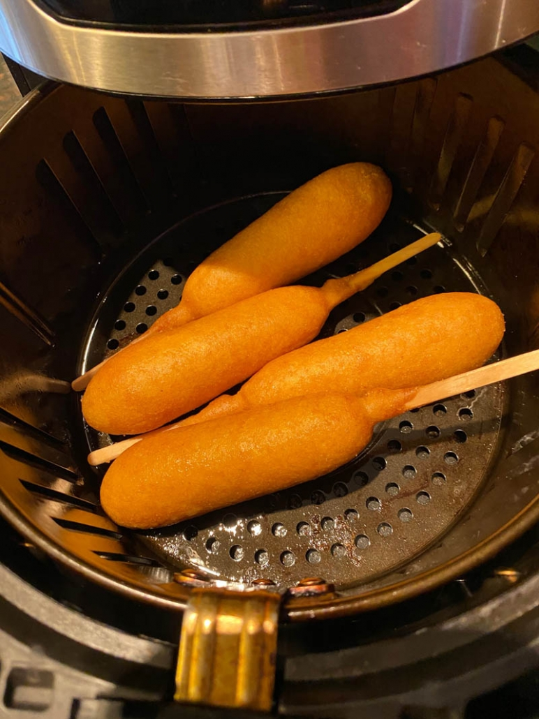 corn dogs in the air fryer cooking