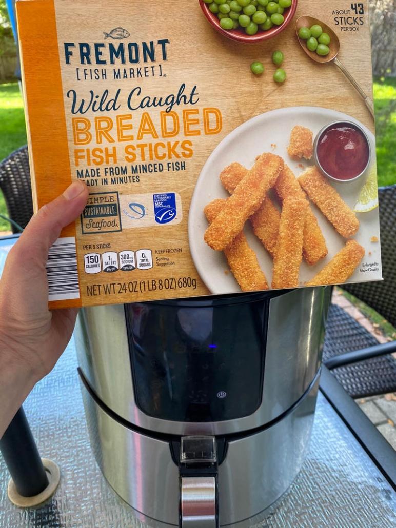 a box of breaded fish sticks