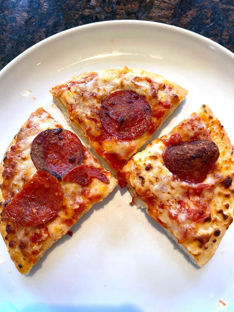 cut up individual frozen pizza