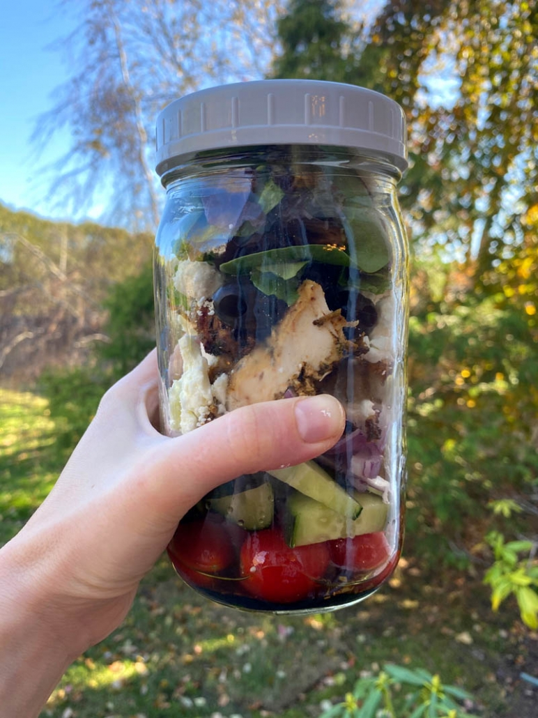 greek chicken salad in a mason jar
