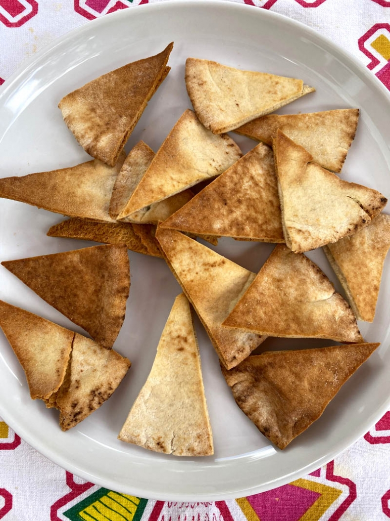 pita chips on a white plate