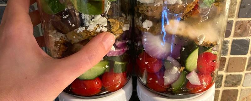 Greek Chicken Mason Jar Salad Meal Prep Recipe