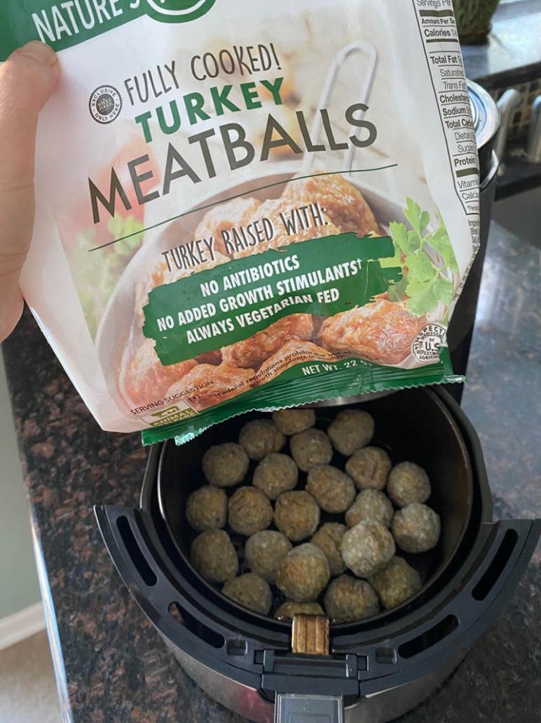 a bag of frozen turkey meatballs