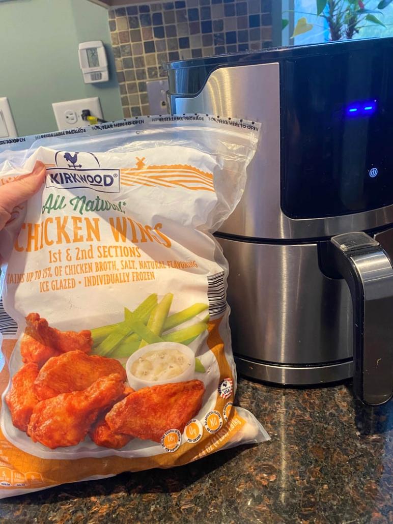 a bag of frozen chicken wings