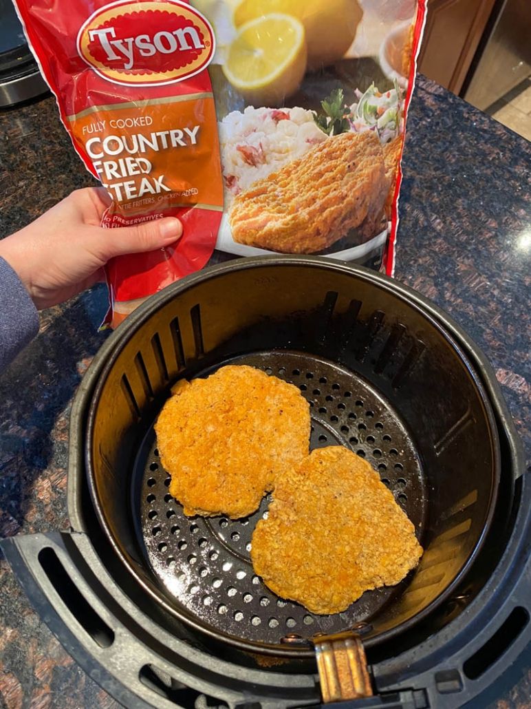 a bag of frozen country fried steak