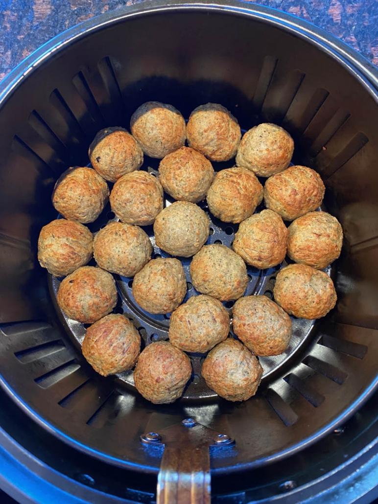 cooked frozen meatballs in the air fryer