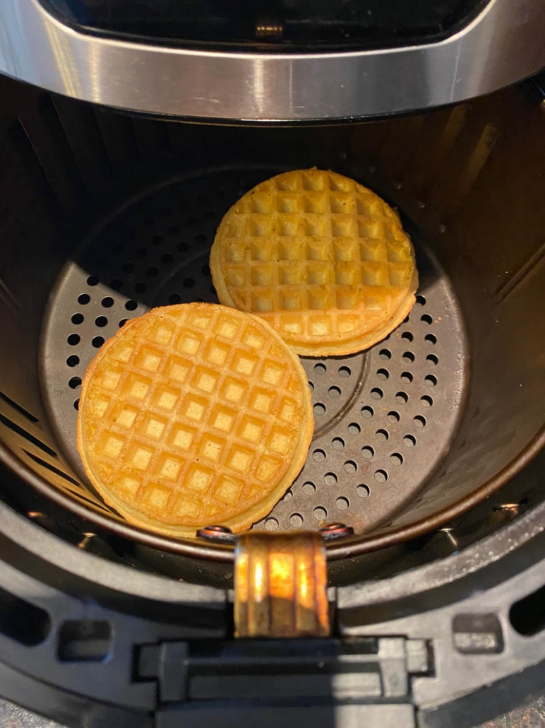 toasted waffles in air fryer basket