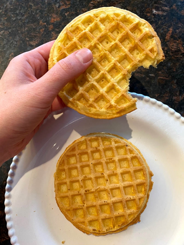 a waffle with a bite taken out of it