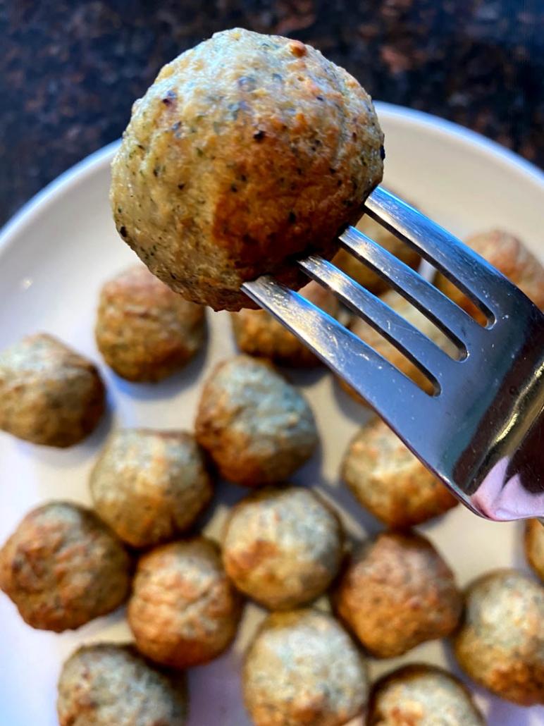 air fried meatball on a fork