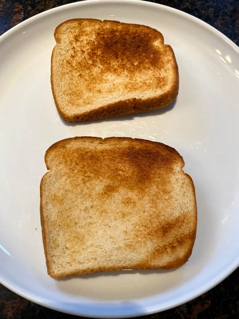 air fried toast on white plate