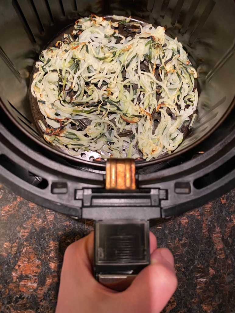 cooked zoodles in the air fryer