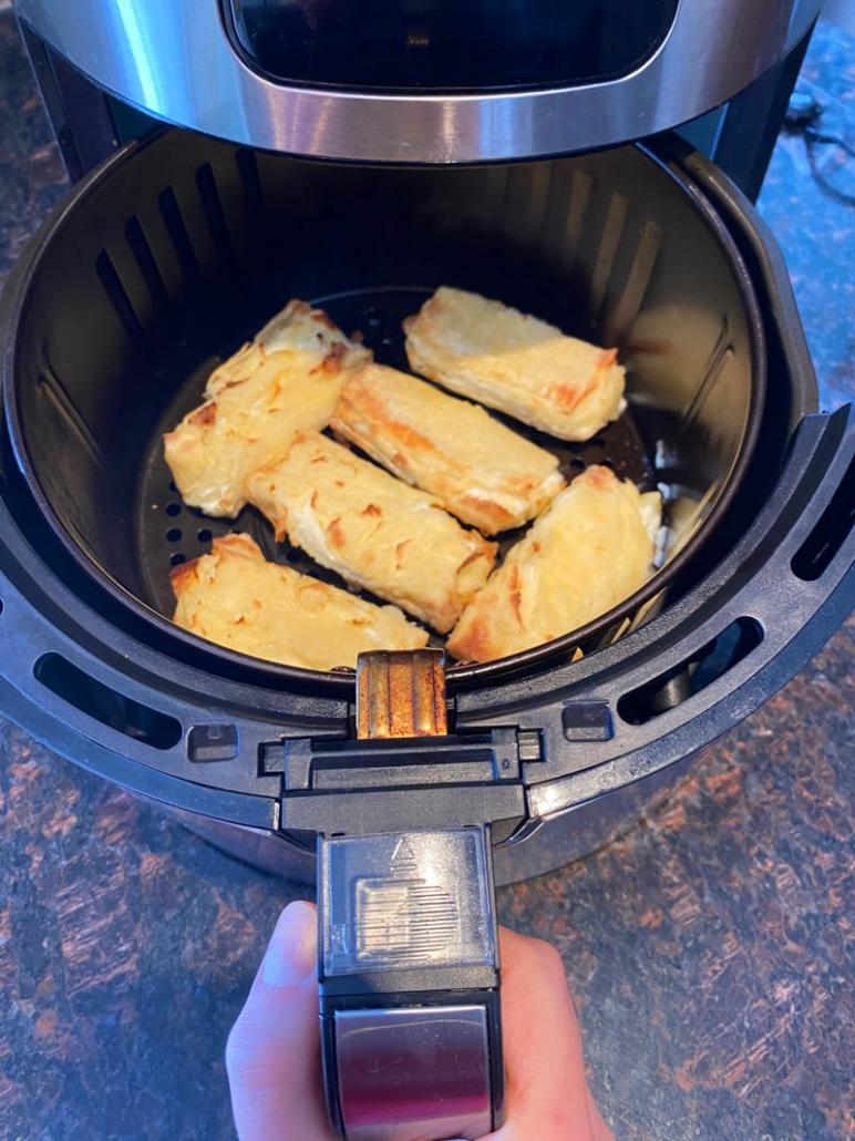 frozen cheese blintzes in the air fryer basket