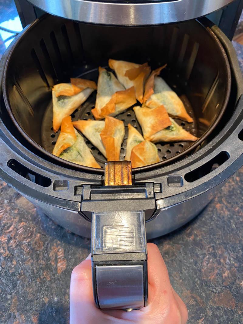 air fried and crispy spanakopita