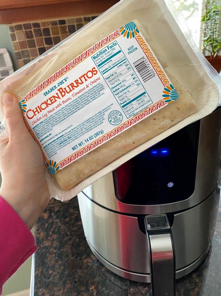 a packet of Trader Joe's Frozen Chicken Burritos