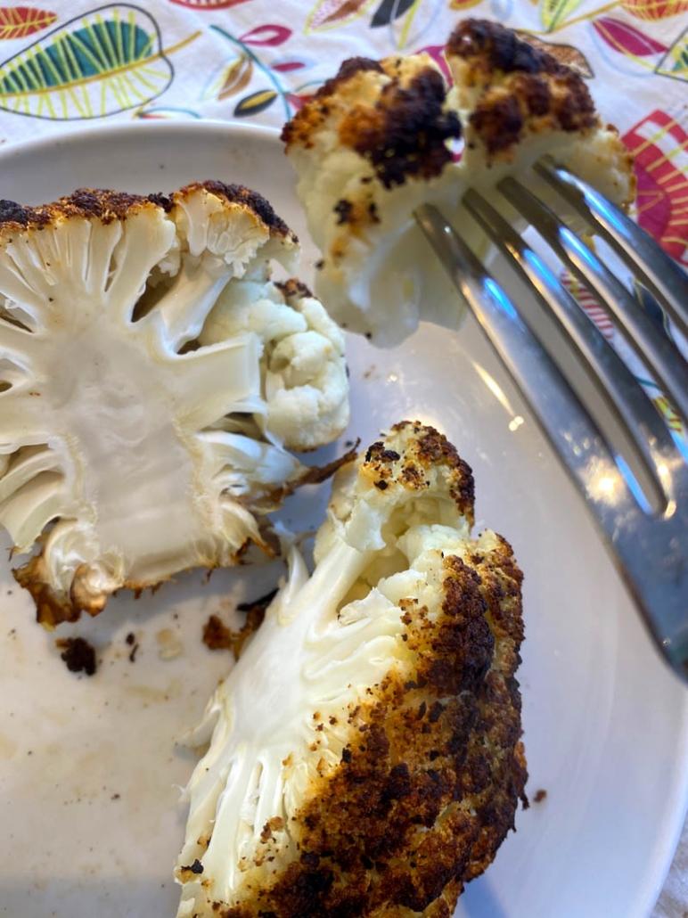 Eating roasted cauliflower