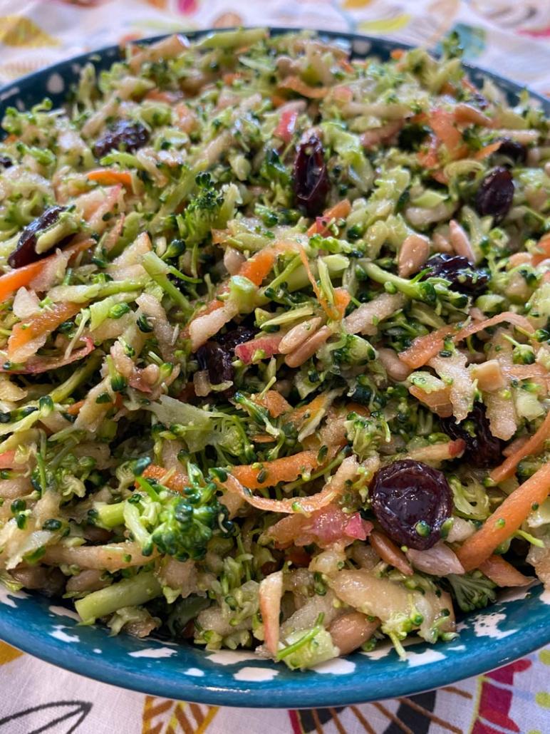 broccoli salad in blue bowl