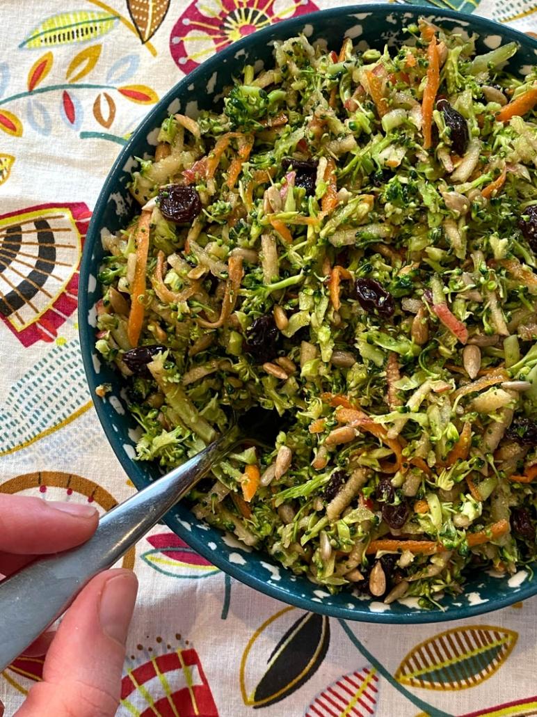 bowl of broccoli apple salad