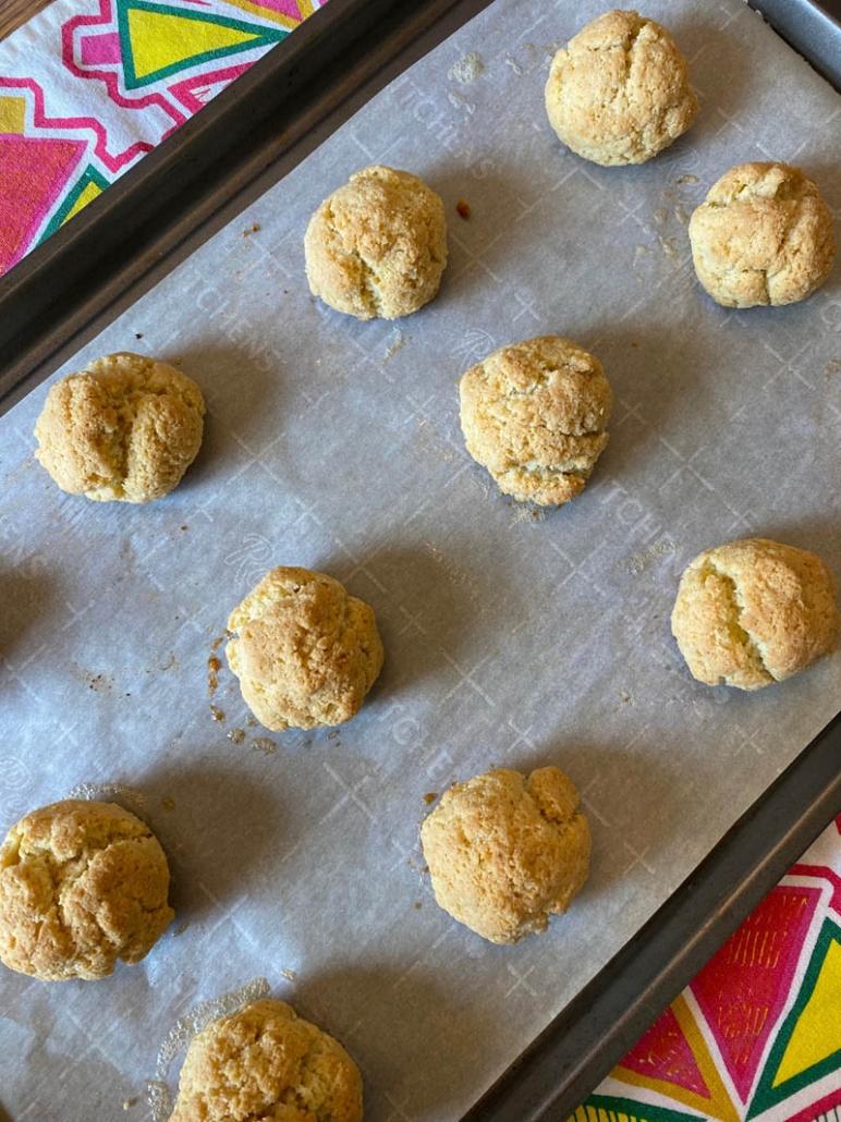 baking dairy free keto biscuits on a baking pan