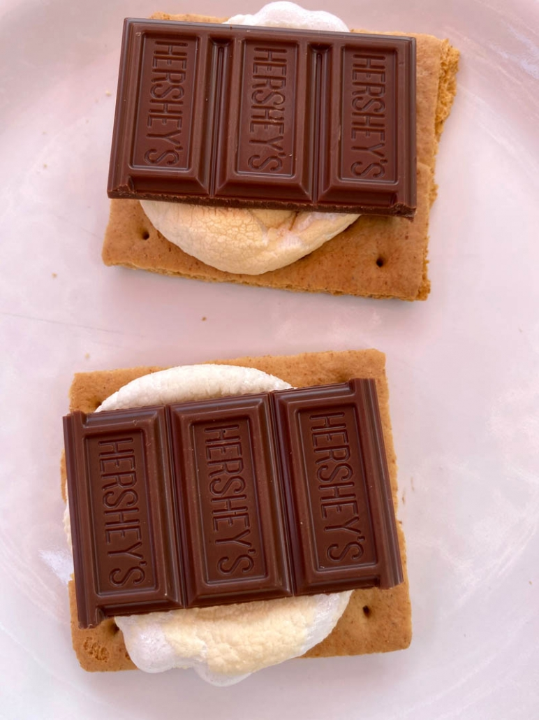 Hershey's chocolate on marshallows