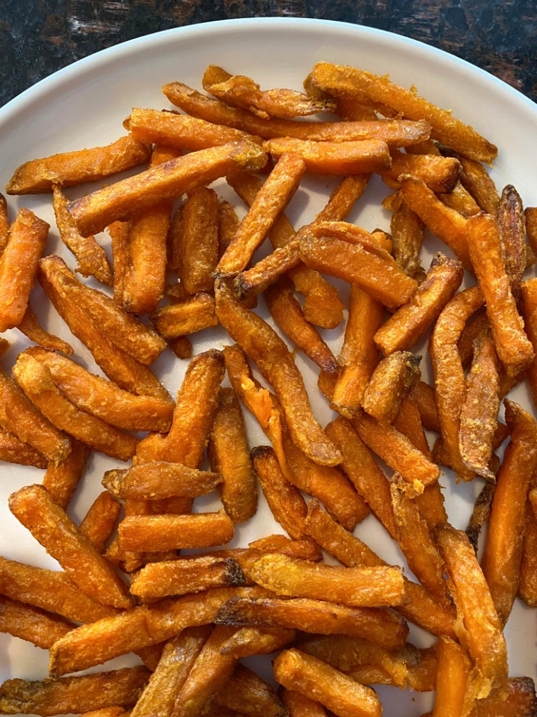 air fried sweet potato fries on a plate