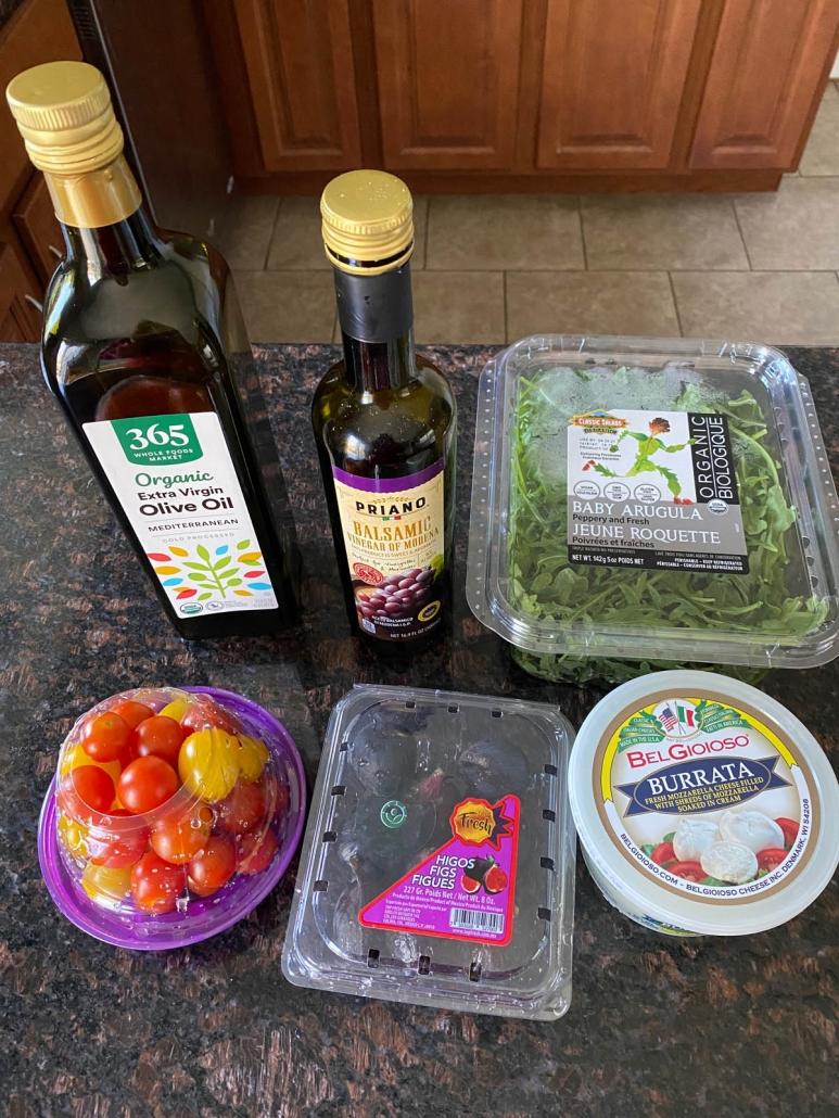 ingredients needed to make arugula and burrata salad