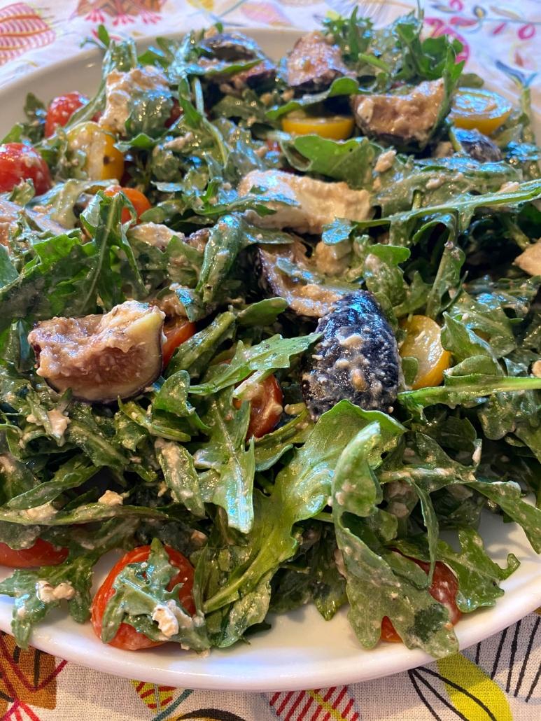 arugula tomato salad with burrata and figs