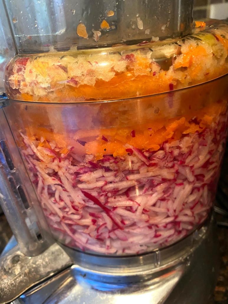 chopping veggies for slaw