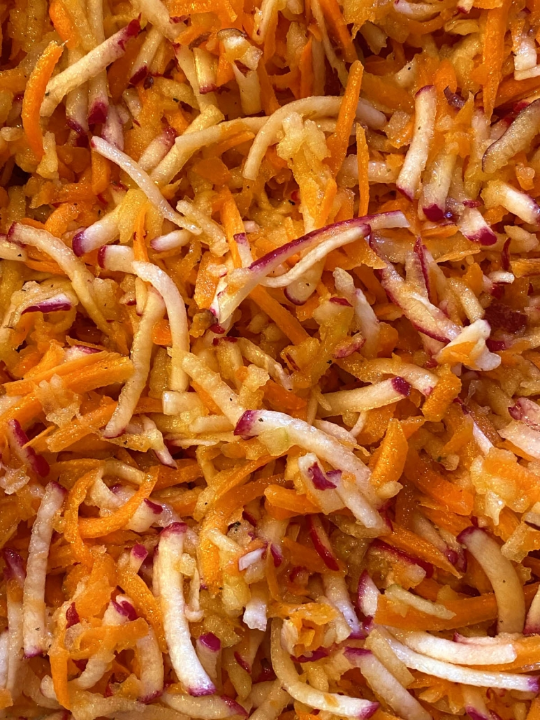 shredded carrots, radishes and apples
