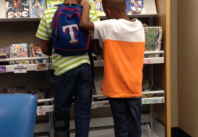 my boys in the library